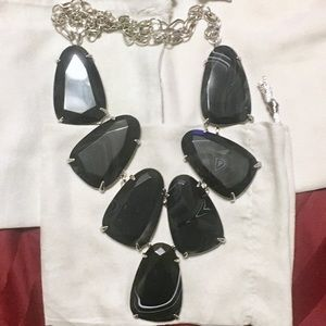 black banded agate BBA harlow in silver necklace